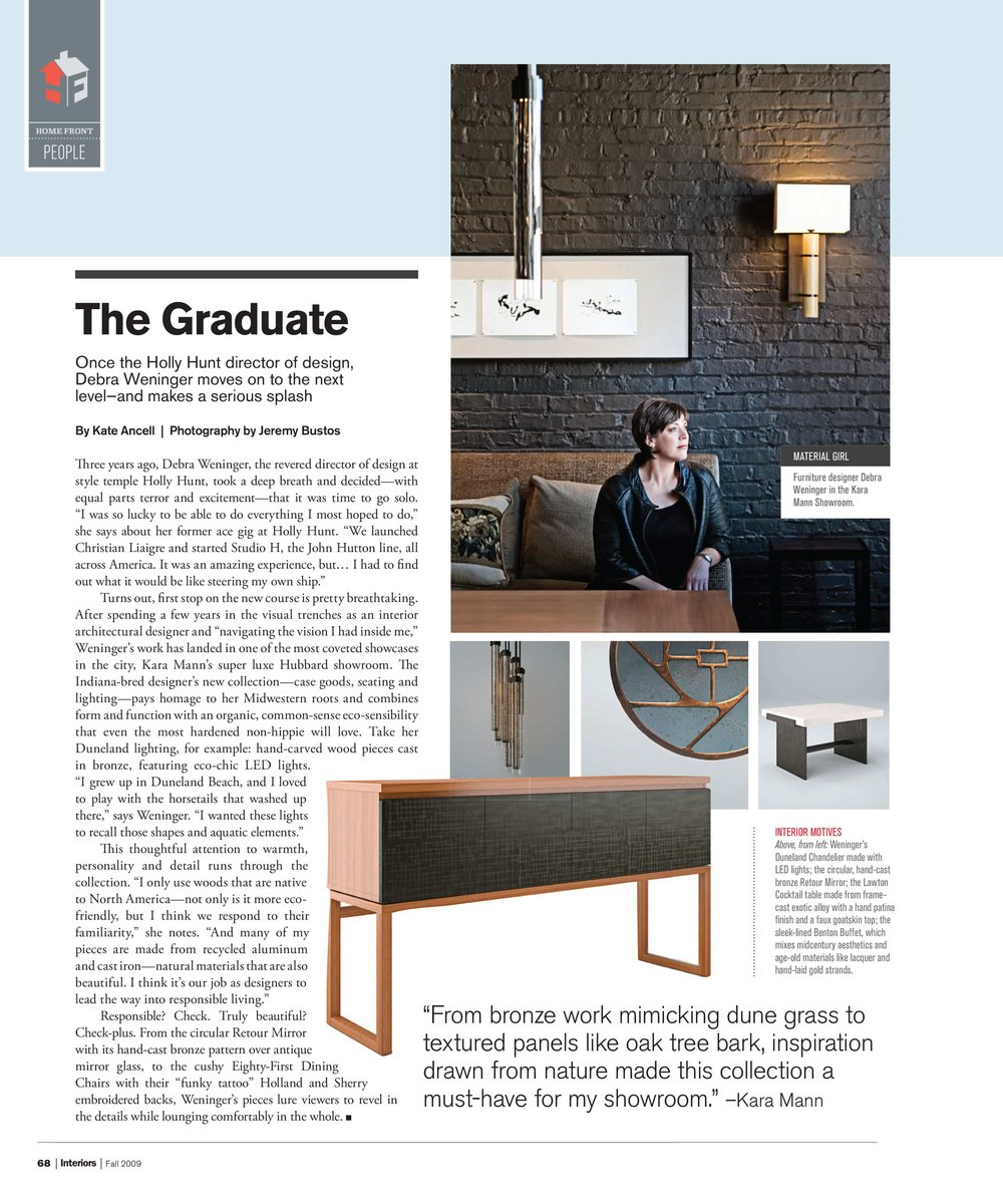 Debra Weninger is featured in CS Interiors magazine with pieces from her furniture and lighting collection.