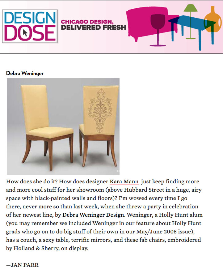 Debra Weninger's Eighty-First Dining Chairs are shown in the Design Dose blog.