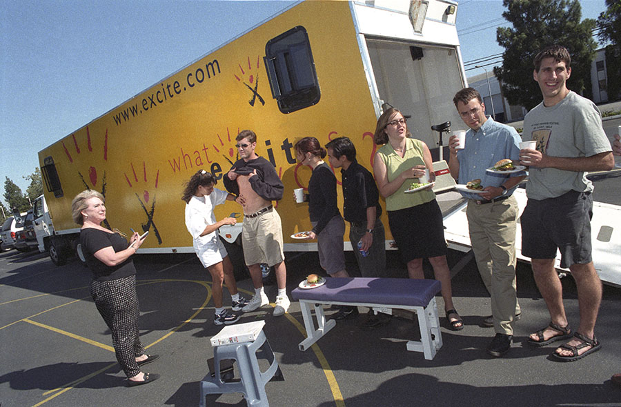 Back in the dotcom halcyon days of late 90s, Excite treated its employees to a weekly afternoon barbecue kitted out with their own custom-made motor home providing Excite employees free health checks while they tucked into their hamburgers!