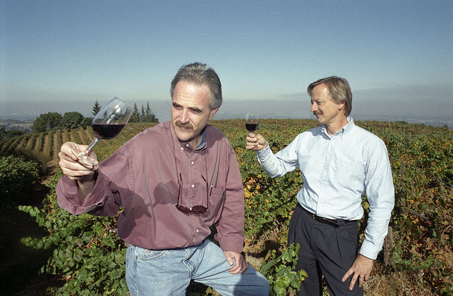 Peter Granoff and his brother-in-law Robert Olson, co-founders of Virtual Vineyards at one of their suppliers' vineyards in the hills above Palo Alto. Granoff, then a leading U.S. sommelier, and Olson with technological background together set up wine retailer Virtual Vineyards in 1995.