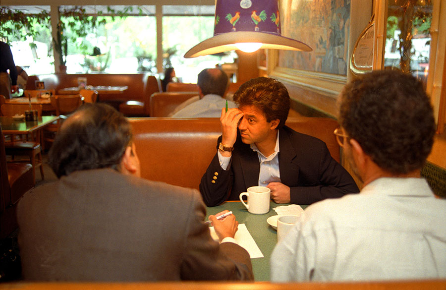 Rakesh Mathur, the then founder and CEO of startup Junglee.com meeting with Angel investors at the legendary Bucks restaurant in Palo Alto in 1998.