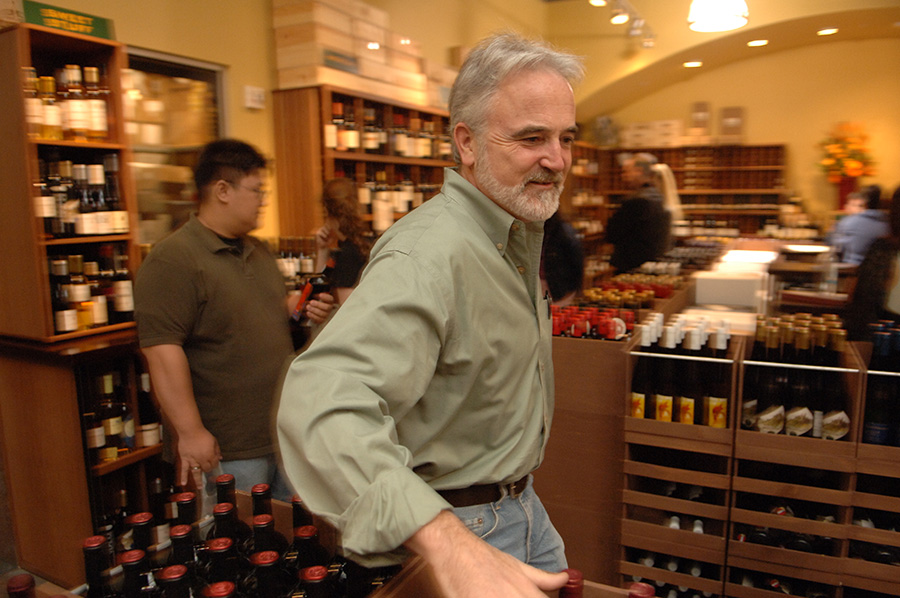 Peter Granoff working at the Ferry Plaza Wine Merchant & Wine Bar which he now owns.