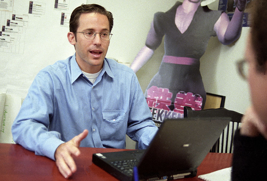 Josh Felser, President of start-up Spinner.com, the online radio network that he worked at with founder Dave Samuel, and here he is negotiating with the CEO of Game spot regarding a joint marketing deal in May 1998.