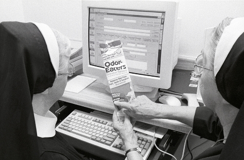 Benedictine Nuns cataloguing products for the Drugstore.com.