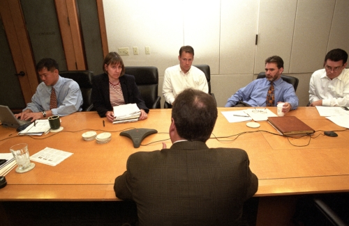 A nervous entrepreneur pitching to the Institutional Venture Partners (IVP) group during their Monday meeting.