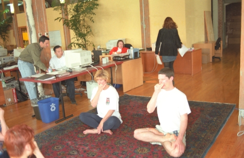 Early-morning Yoga classes at Critical Path help relax the employees.