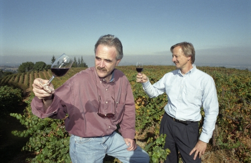 Peter Granoff (right) and Robert Olson of Virtualvin.com (based in Palo Alto, CA) at one of their suppliers' vineyards outside Palo Alto. Granoff's wine expertise and Olson's Silicon Valley background have combined well to create one of the most impressive and most efficient services on the internet.