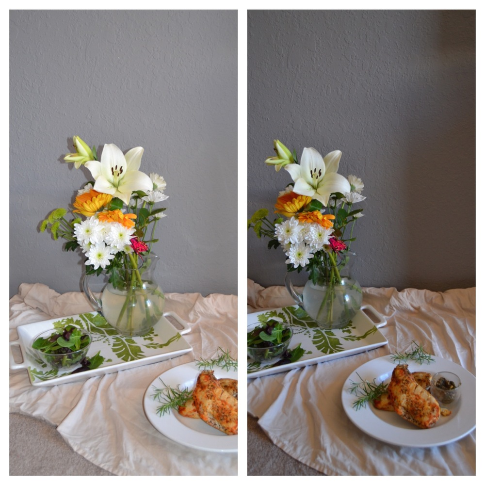 This photo was actually taken with my fancy camera, however, I wanted to illustrate the example of flash vs. natural light. ( I couldn't find any past artificial light photos from my iPhone because I had deleted them all!) On the left is this photo with a flash- notice how the chicken in the foreground and the flowers in the back look washed out and almost reflective.