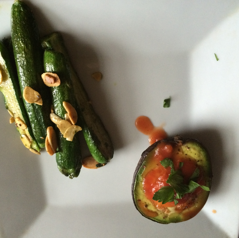 Using the focus lock on the iPhone allowed for the detail and texture of this  Almond-Zucchini Saute to really stand out