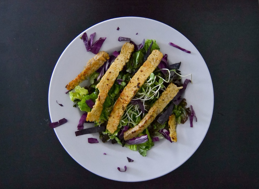 Seared Sunflower Tempeh salad with Ginger-Miso Dressing