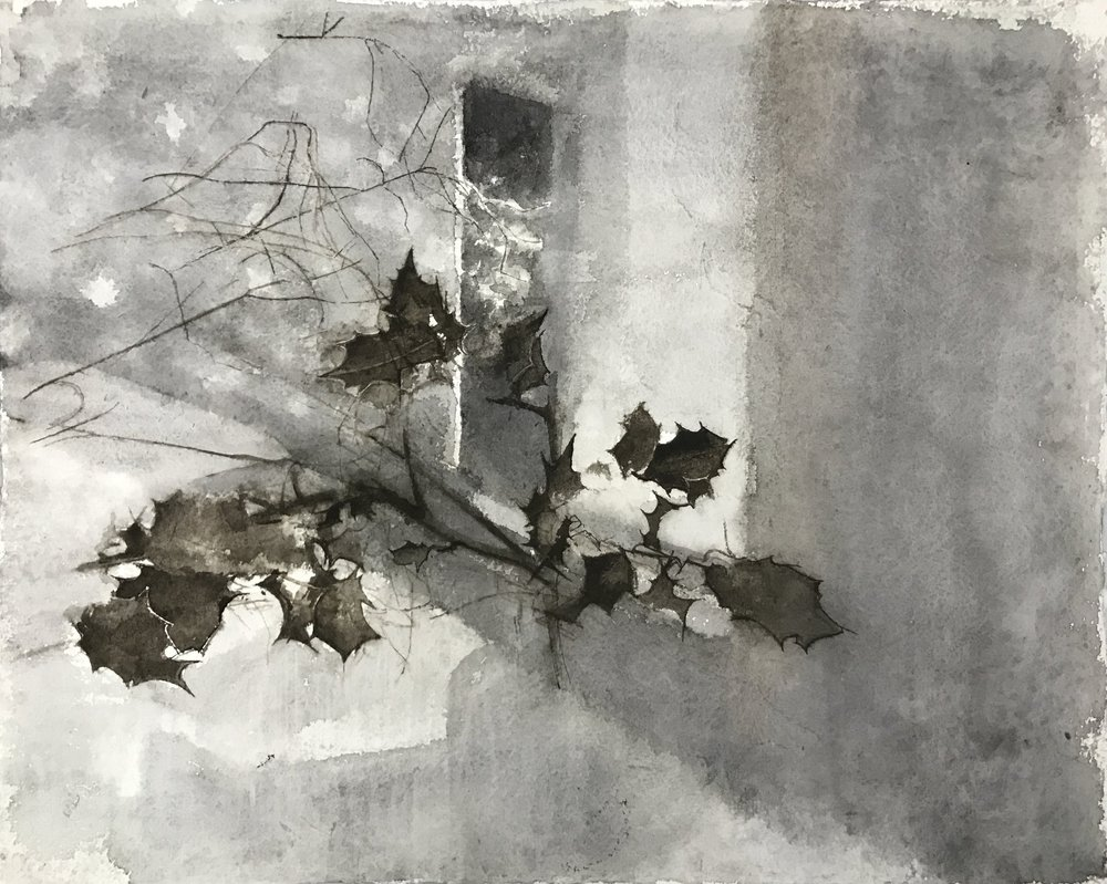 </strong><em>Mid-Winter, Holly</em> <br/> 2016-17 <br/> watercolour<br/>42 x 52cm <strong>