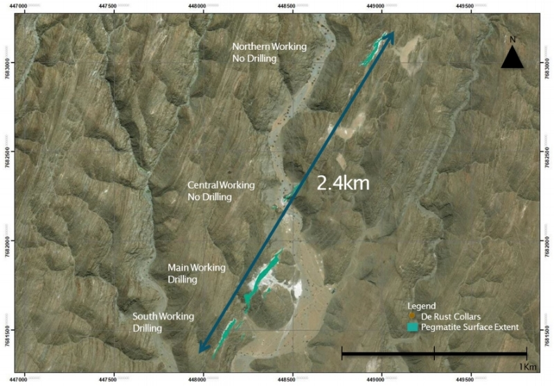 Map 3: Pegmatites encompass several outcrops, varying in length  between 100m up to 470m over a distance of 2.4 km  and has been measured in places to be more than  30m wide.