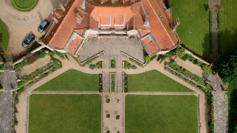 Image: Voewood from above, a beautiful wedding venue hidden in the woods near the North Norfolk Coast which features as the setting for the documentary.