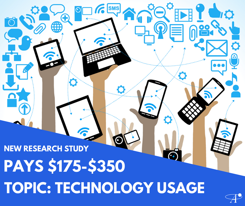 Pays $175-$350 to Participate in an Online Board research study + possible 2-hour In-Home interview on June 11, June 12, or June 13 about Technology and your usage of it!