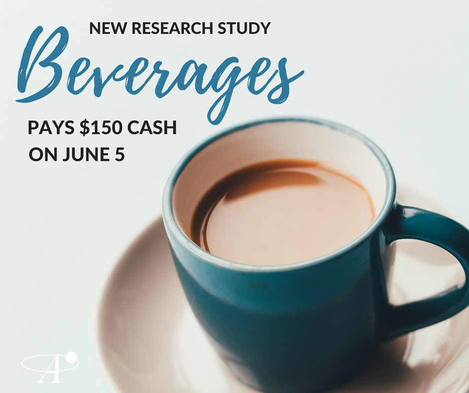 PAYS $150 CASH- For Ages 35-65, Men and Women. Topic: Beverages. Takes place June 5 at our offices in St. Louis Park with group times at 12:00pm, 3:30pm, or 7:00pm!