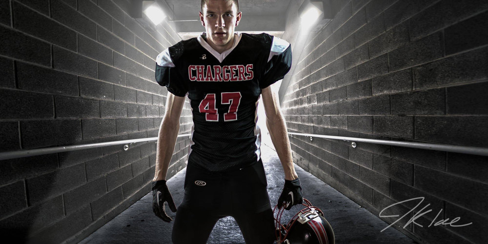 McKinney Texas Boys HDR Athletic Football Senior Portrait in Tunnel