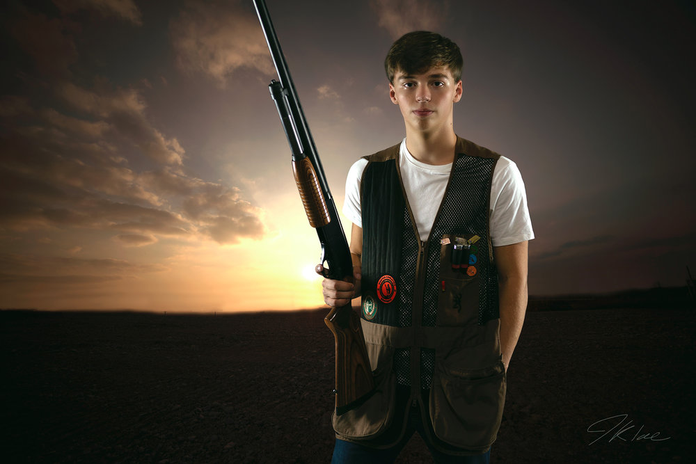 Boys Trap Shooting Senior Portrait with HDR Sunset at Arbor Hills Nature preserve in McKinney Texas