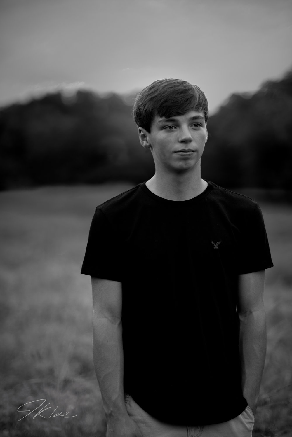 Plano Texas Boys Fashion Senior Portrait in Black and White at Arbor Hills Nature Preserve