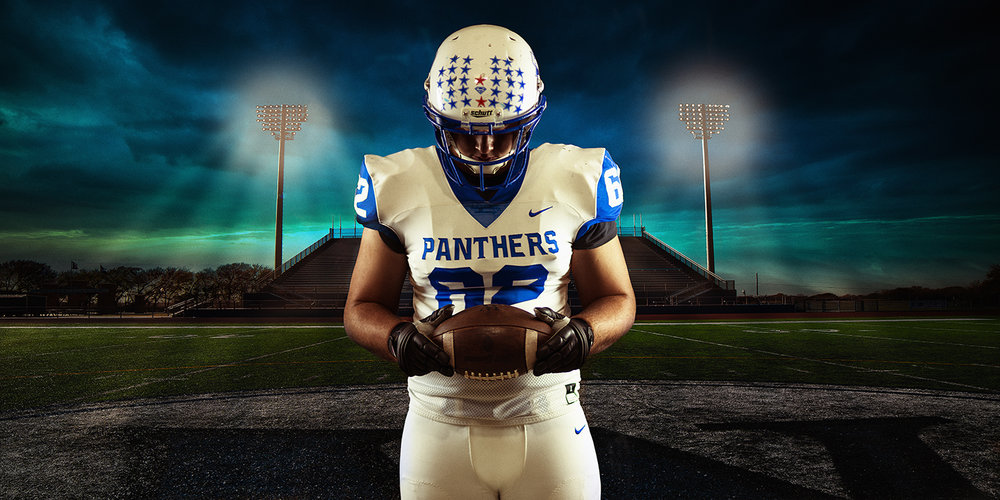 Athletic Senior Picture of Van Alstyne Texas Football Player on Field