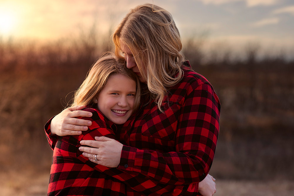 McKinney Texas Family Portrait of Mother and Daughter Hugging During Sunset
