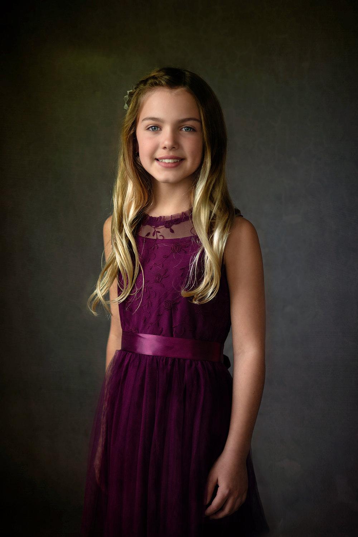 In-Studio Fine Art Children's Portraiture of girl in Hideaway Texas