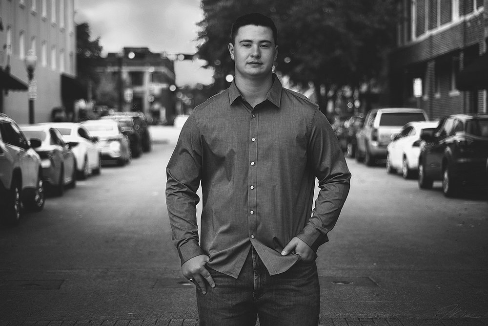 Van Alstyne Guys Senior Photo in Black and White in Downtown McKinney Street