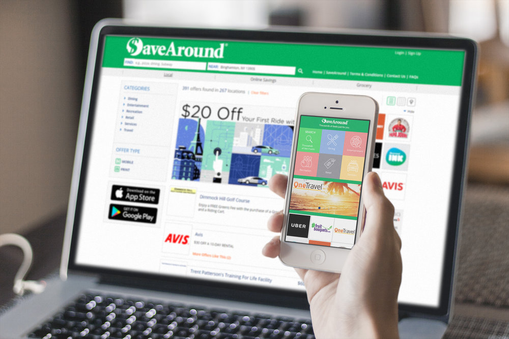 The SaveAround webpage and mobile app.