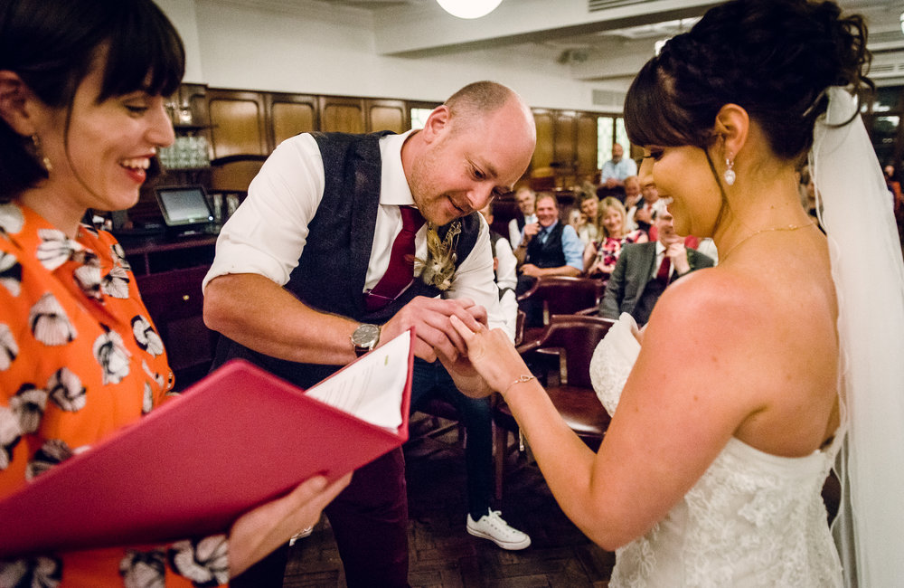 Scott and Nicola's humanist wedding ceremony took place at the Hawksmoor Guildhall.
