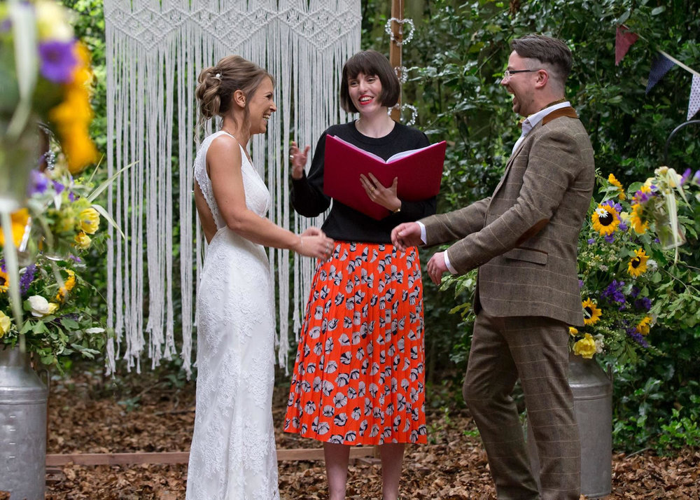 Niall and Abbi's humanist wedding took place in the forest at Hockering House, Norwich.