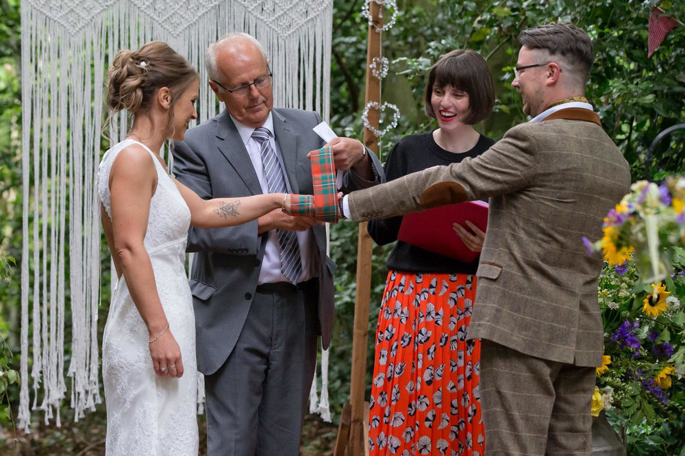 Niall and Abbi chose to include a handfasting in their humanist wedding ceremony.
