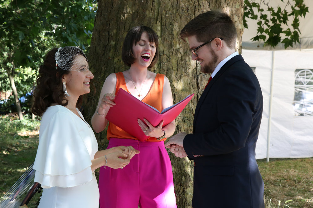 Tijana and Carl marrying in a humanist ceremony at Myatt's Field Park, in Camberwell. Images:  Maria Katsika