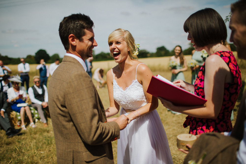 Claire and Rob's humanist wedding ceremony at New Barn Farm, Carlton.  Image by Sally Forder (for    Binky Nixon Photography   )