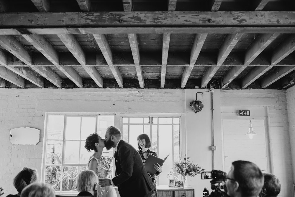 Liane and Michael's humanist wedding ceremony.   Image by Lex Fleming