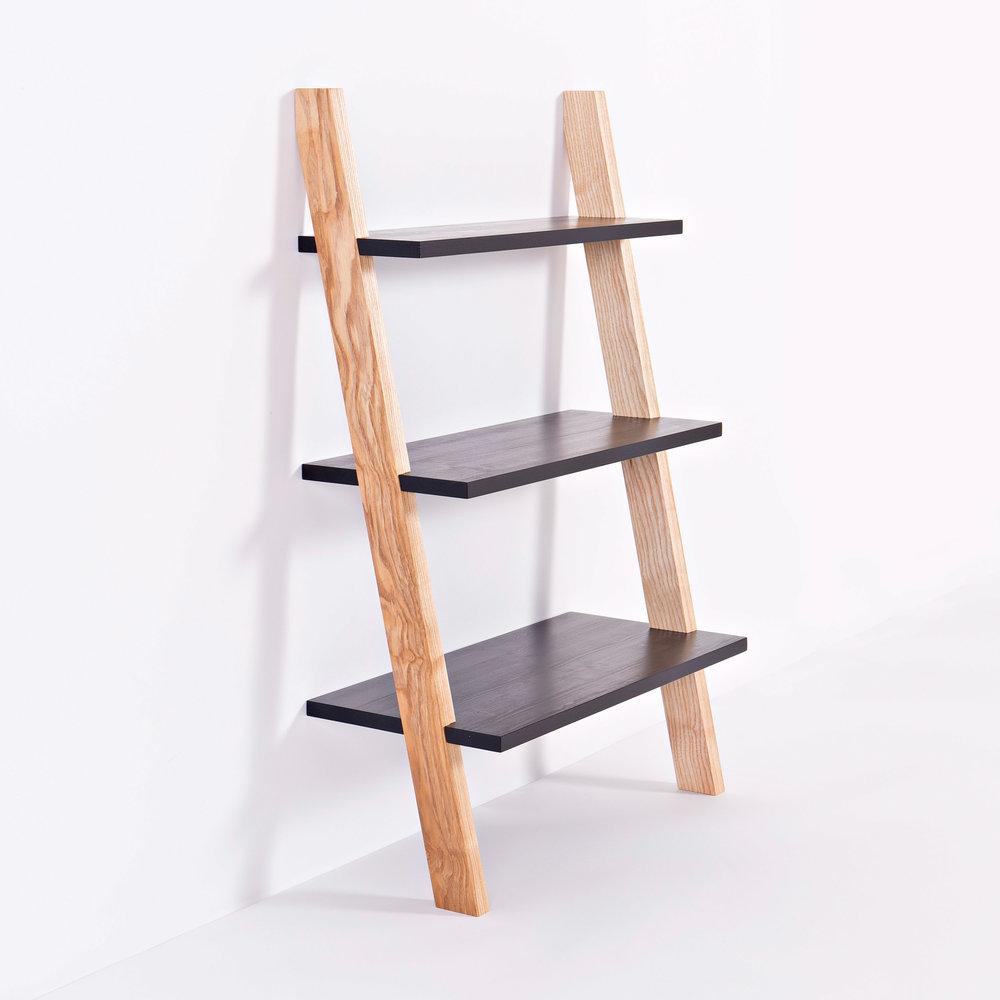 Repose Shelving Three - handmade design in wild Irish ash and black waxed Finnish pine