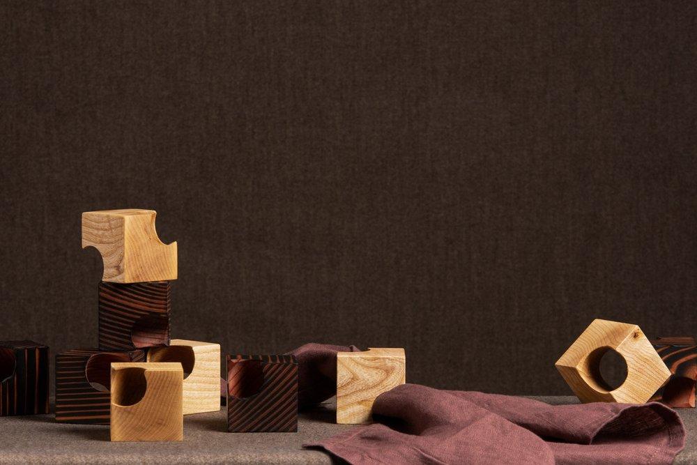 Napkin Cubes - handmade from scorched wild Irish redwood and wild Irish ash