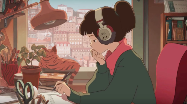 The studying girl on one of the most popular YouTube Lofi Hip Hop mixes: https://www.youtube.com/watch?v=-FlxM_0S2lA.