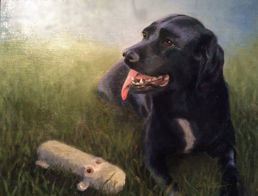 """""""Hudson (with his favorite toy)"""" 20"""" x 18 (2016)"""