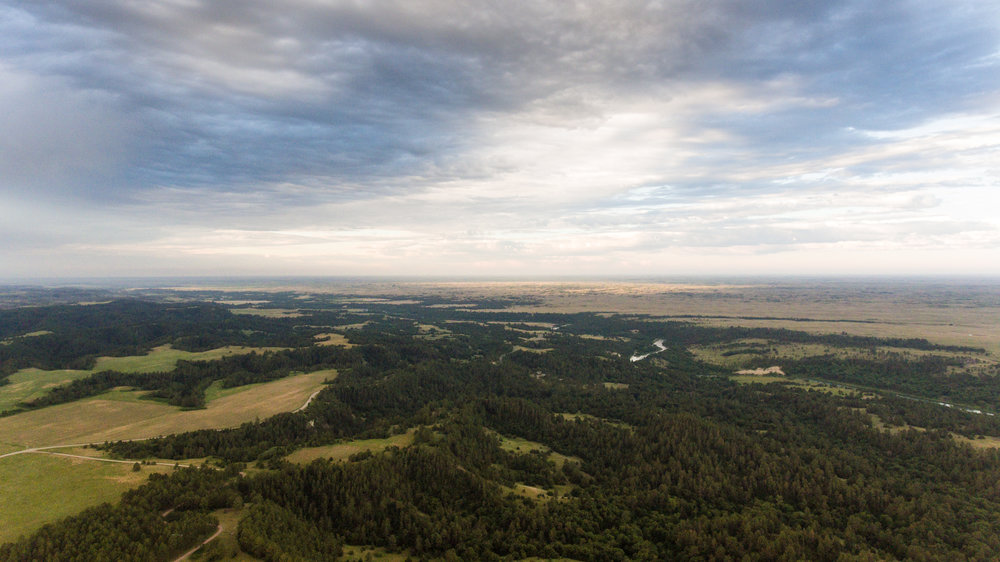 An aerial photograph that shows the great diversity of our land. In the foreground, you can see where the prairie is greeted by dense pine forests and the canyons that lead down to the Niobrara River valley. From there an endless sea of sand hills take you to the horizon. The Nebraska Sandhills are one of the largest plant-anchored sand dune regions in the world, and the largest sand dune formation in the Western Hemisphere. The dunes sit atop the Ogallala Aquifer, resulting in thousands of little lakes and ponds in lower-lying areas.
