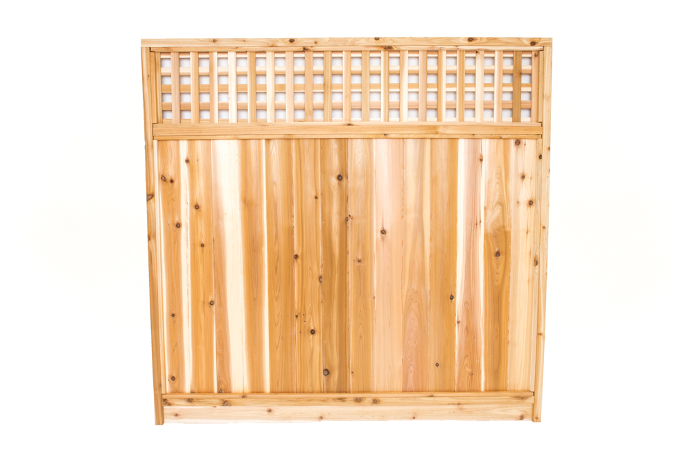 cedar square lattice top fence panel