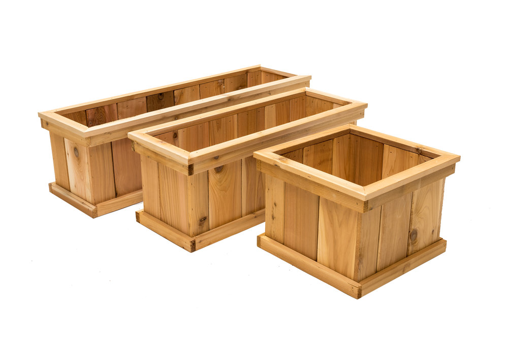 "deck mate cedar planters 40"", 30"" and 16"""