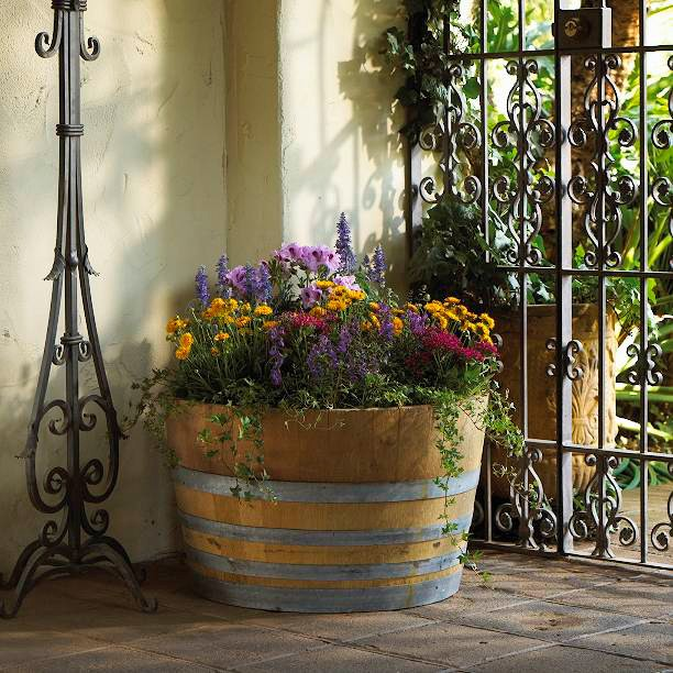 Real Wood - Lawn and Garden - Oak Barrels - Half Oak B100 - Application (Planted - Patio).jpg