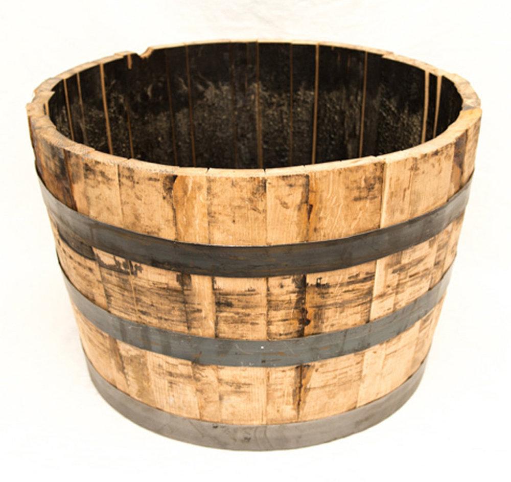 "oak whiskey barrel half dimensions: 26""x17.5"""