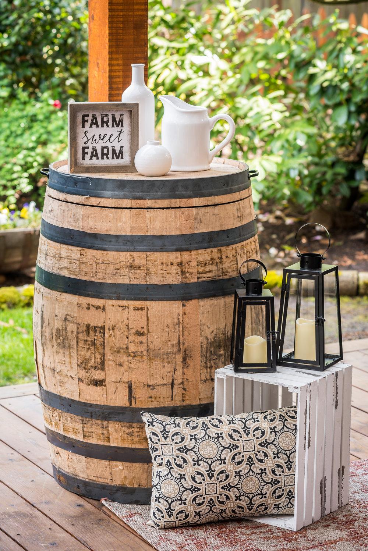 "oak whiskey barrel  dimensions 27""x36"""