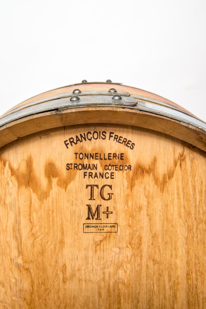 closeup of label on wine barrel