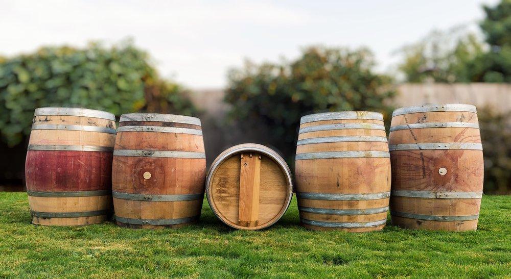 Real Wood - Lawn and Garden - Oak Barrels - Whole Oak Wine B120 - Group Shot.JPG
