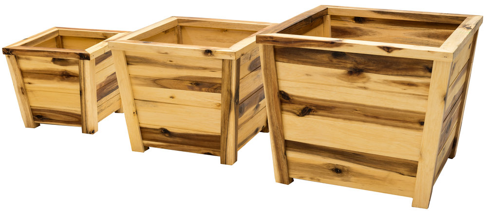 """nested acacia planters dimensions: 17""""x14.5"""""""