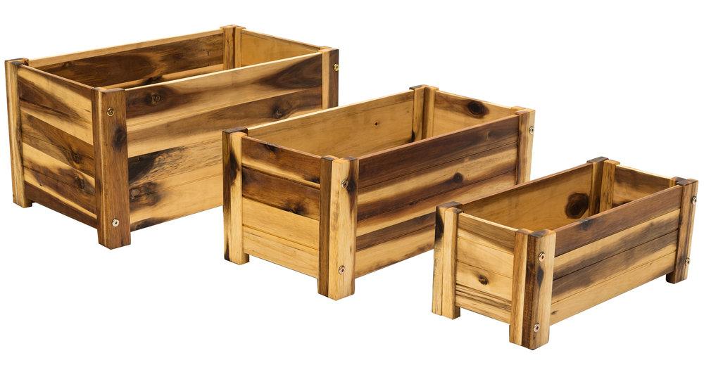 "rectangular acacia planters dimensions: 20.5""x12.5"""