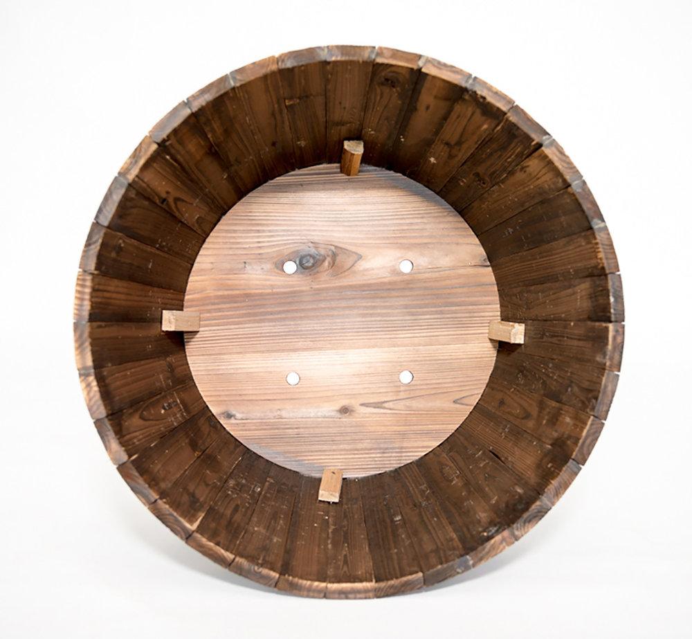 """RW whiskey half barrel dimensions: 26""""x16.5"""""""