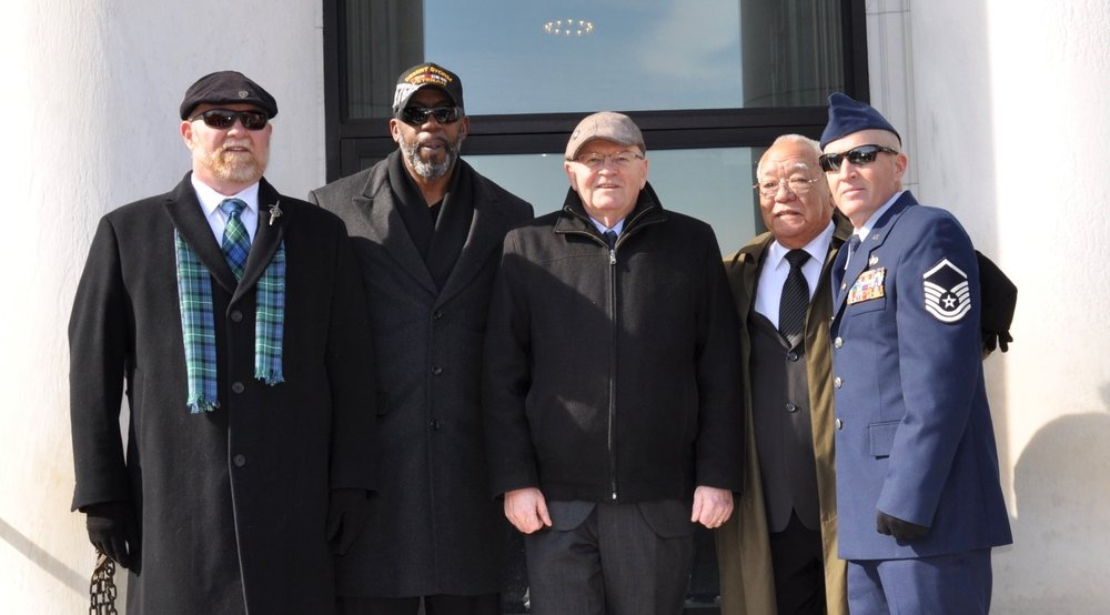 Danny is far right (in uniform).  Joining Danny from left to right is Jeffery Forbes (WA), Tim Rudolph (NJ), Paul Shearon, IFPTE President & Ben Toyoma (HI).
