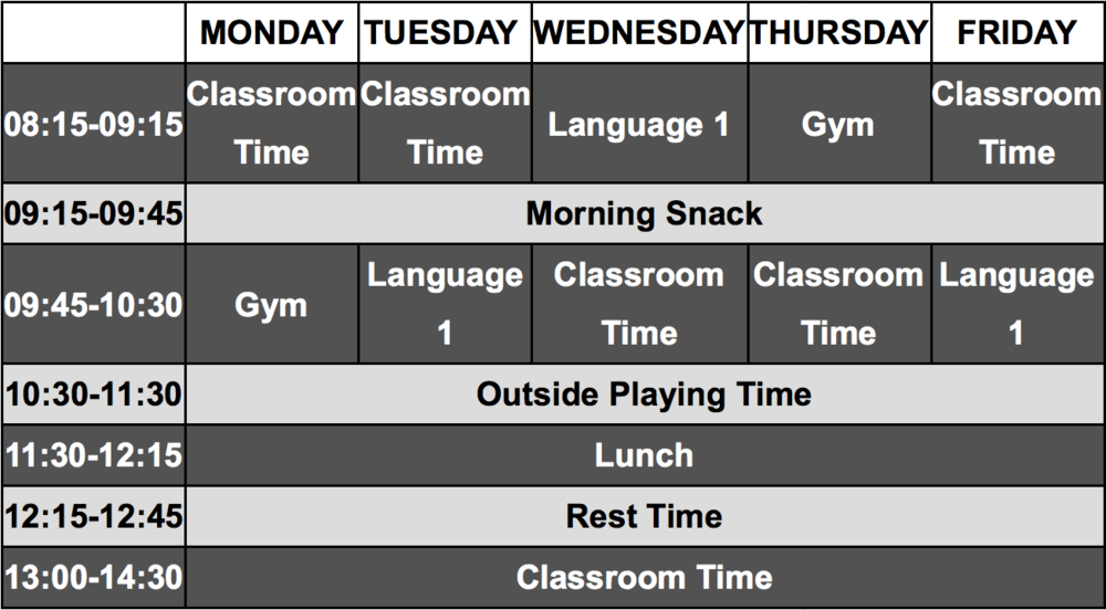 A example timetable for a typical week in nursery.